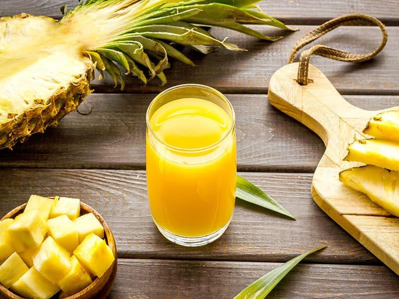 Pineapple Juice Glass Closeup