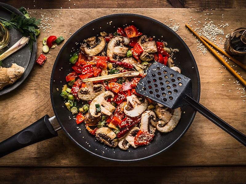Vegan Stir Fry Pot on Wooden
