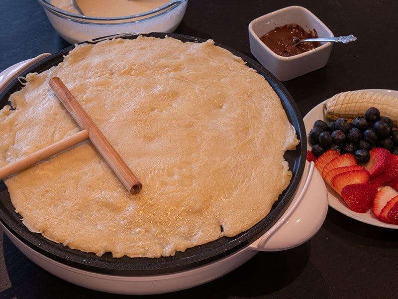 Making Crepe Pancake Fruit