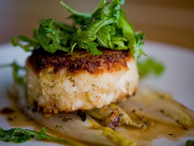 Crab Cake Served Spicy Sauce