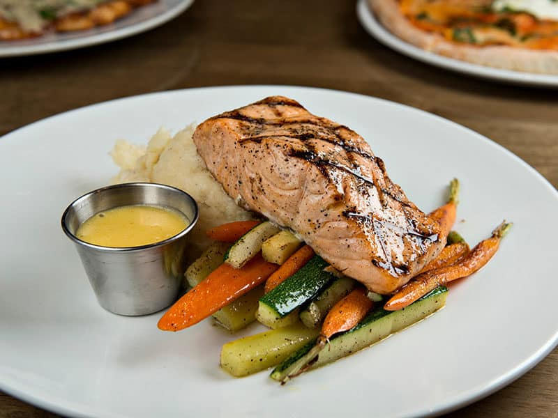 Mix Canned Salmon and Roasted Veggies