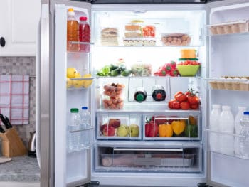 Open Refrigerator Filled Fresh