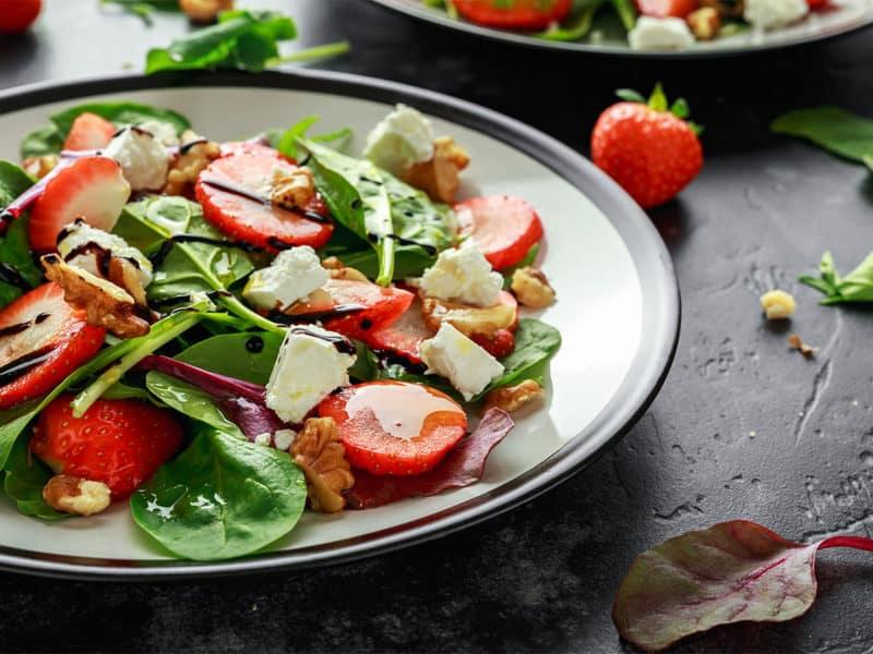 Fruit Strawberry Spinach Salad Walnut