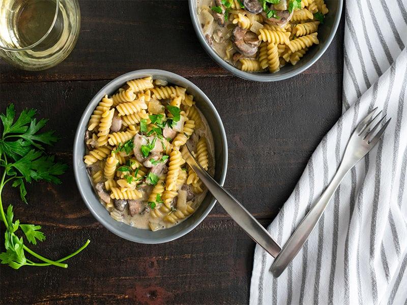 Mushroom Bowls Rotini Pasta