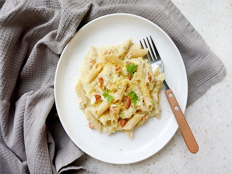 Vegan Alfredo Pasta Cooked