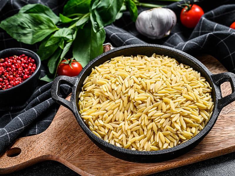 Bowl Uncooked Orzo Pasta