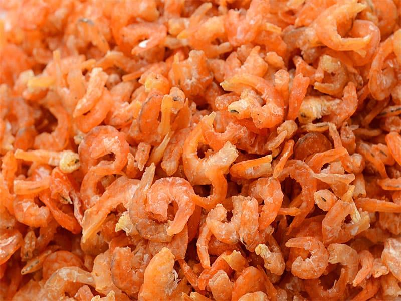 Dried Shrimp On White