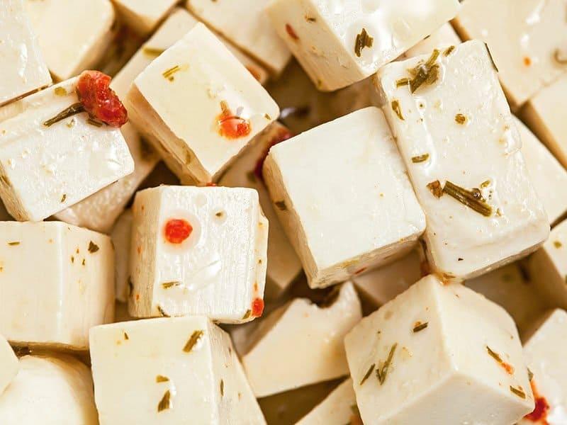 Feta Cheese Is Cut In Blocks