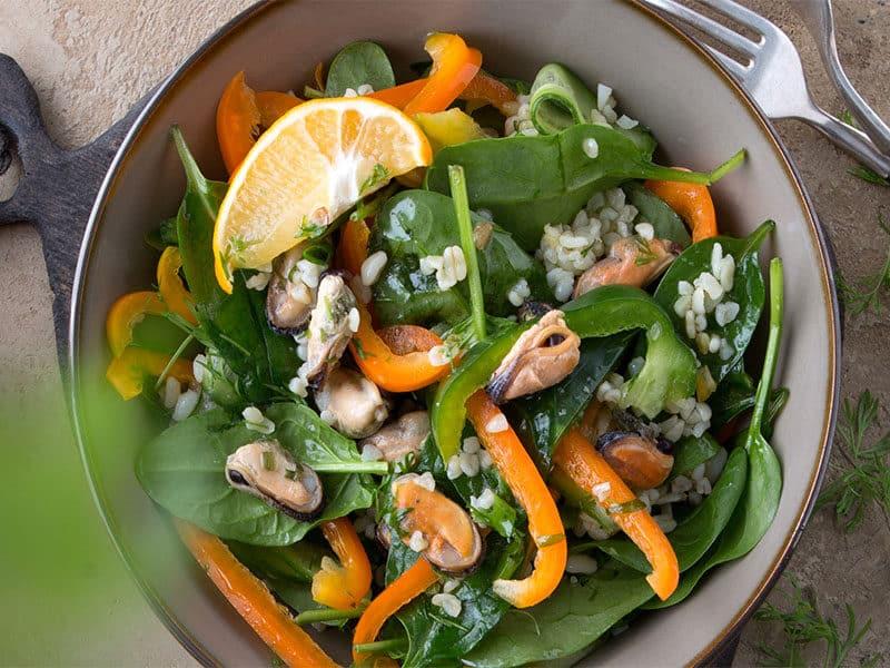 Flat Lay Salad Bowl Bulgur