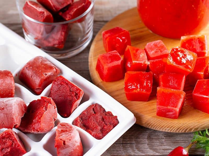 Frozen Tomato Paste Cubes Plastic Shape