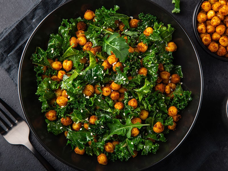 Kale And Roasted Chickpeas Salad