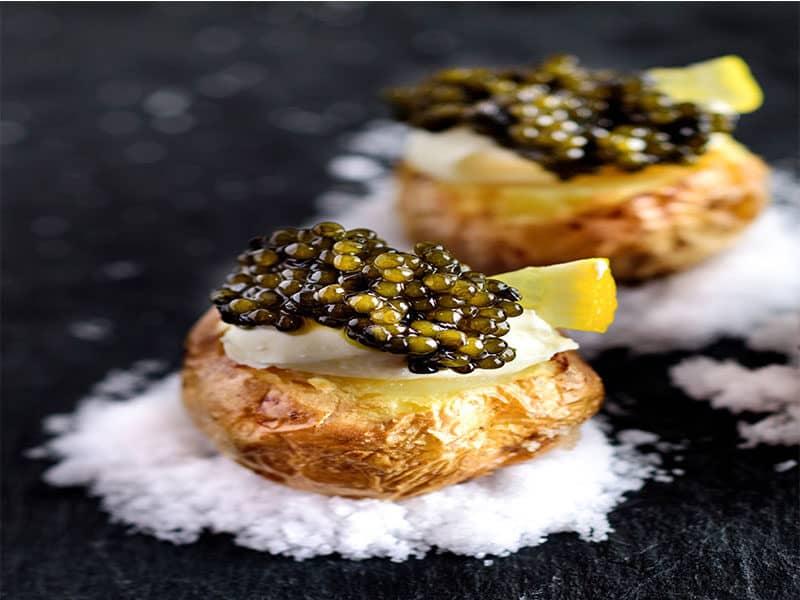 Potatoes Black Caviar Appetizers