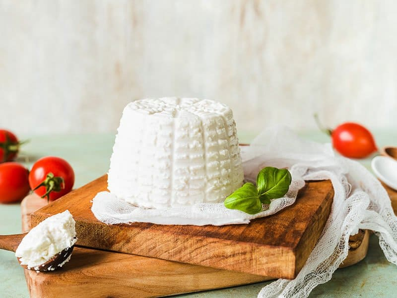 Ricotta Cheese On Wooden