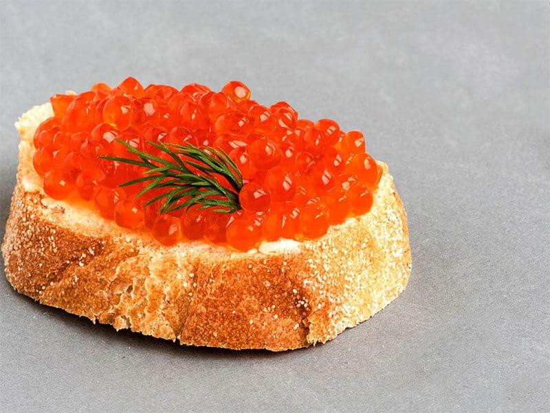 Slice Bread Red Salmon Caviar