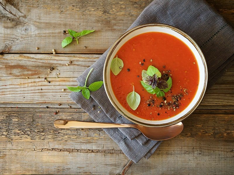 Tomato Soup On Wooden