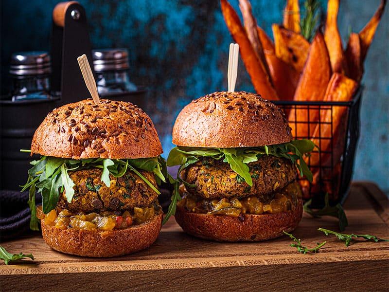 Vegan Lentil Burger Arugula
