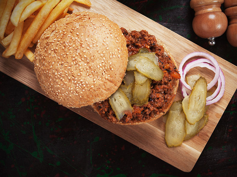 Sloppy Joes French Fries And Pickles
