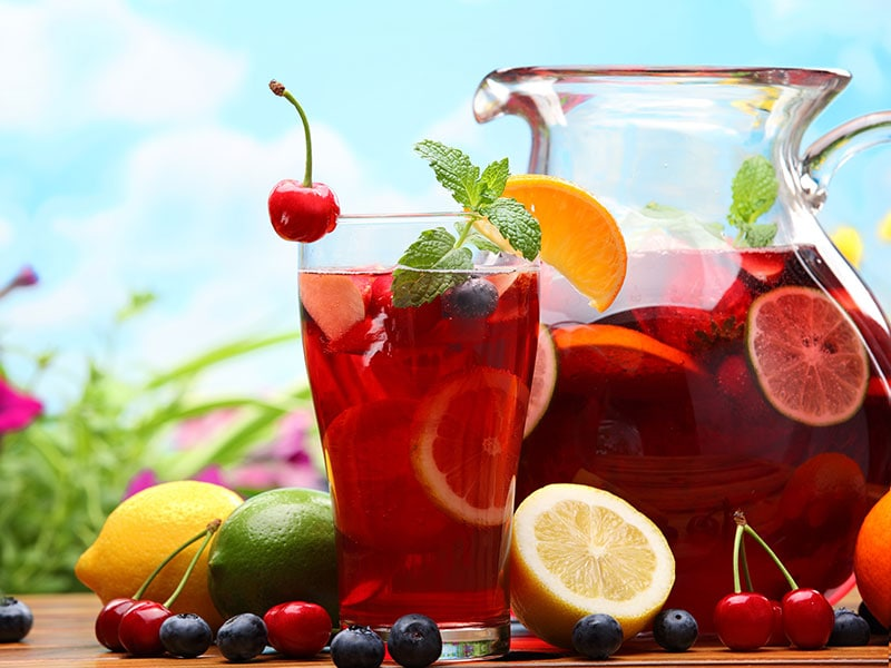 Red Wine And Fresh Fruits