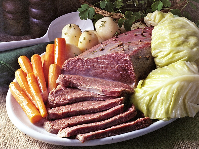 Corned Beef and side dishes on St Patrick's Day
