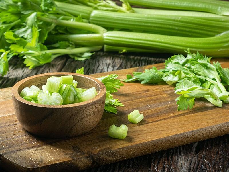 Sliced Fresh Celery Stalk